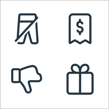 Marketplace line icons. linear set. quality vector line set such as gift, dislike, receipt icon