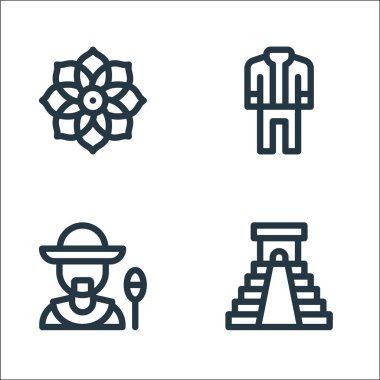 Mexico line icons. linear set. quality vector line set such as chichen itza pyramid, man, mariachi icon