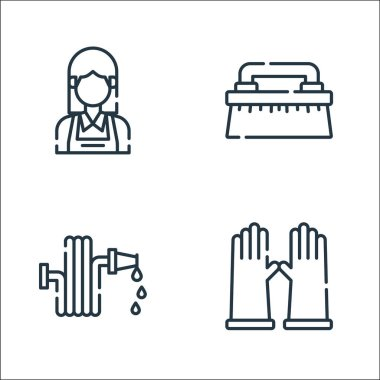 Cleaning line icons. linear set. quality vector line set such as rubber gloves, water hose, brush icon