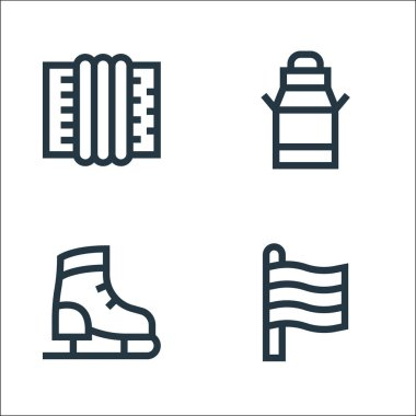 Holland line icons. linear set. quality vector line set such as holland, ice skating shoes, milk can icon