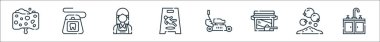 Cleaning line icons. linear set. quality vector line set such as sink, handwash, washing powder, lawnmower, wet floor, maid, dental floss icon