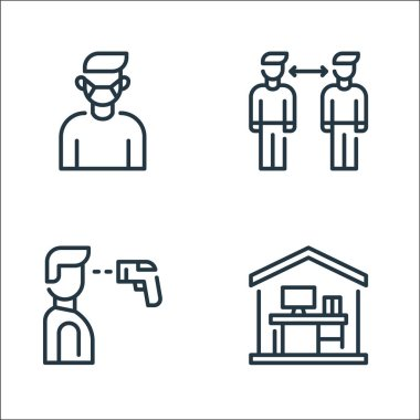 Coronavirus line icons. linear set. quality vector line set such as working at home, thermometer, distance icon