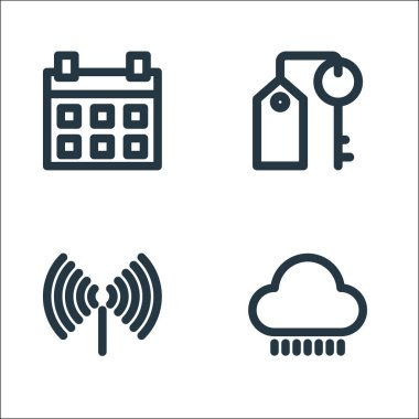 Holiday line icons. linear set. quality vector line set such as rainy, key icon