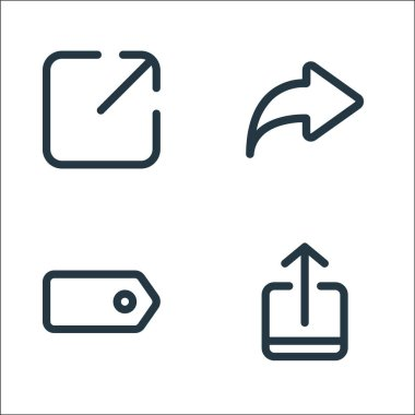 Marketplace line icons. linear set. quality vector line set such as upload, tag, share icon