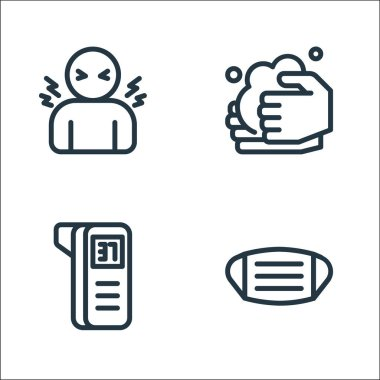 Flat covid line icons. linear set. quality vector line set such as facial mask, thermometer, washing hands icon