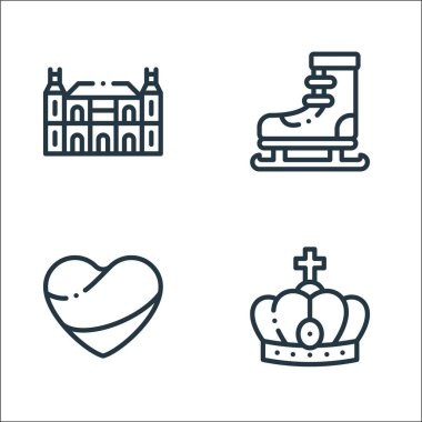 Holland line icons. linear set. quality vector line set such as crown, holland, ice skating icon