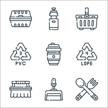 Plastic products line icons. linear set. quality vector line set such as cutlery, dust pan, cleaning brush, recycle, coffee cup, recycle, basket, water bottle icon