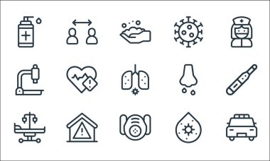 Coronavirus line icons. linear set. quality vector line set such as police car, respirator, hospital bed, virus, quarantine, microscope, runny nose, coronavirus, safety icon