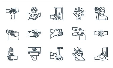 Wash hands line icons. linear set. quality vector line set such as wash, handwash, washing hands, washing hands, tissue paper, hand, wash, hand, shaking icon