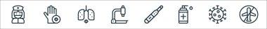 Coronavirus line icons. linear set. quality vector line set such as no flight, coronavirus, disinfectant, thermometer, microscope, pneumonia, hand icon