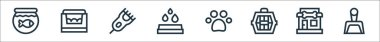 Pet shop line icons. linear set. quality vector line set such as dustpan, pet shop, pet carrier, pawprint, waterdrops, electric shaver, bed icon