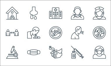 Coronavirus disease line icons. linear set. quality vector line set such as face mask, washing hands, microscope, vaccine, medical mask, spread, cough, sore throat, runny nose icon