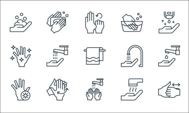 Wash hands line icons. linear set. quality vector line set such as washing hands, hand washing, hand, hand dryer, washing hands, faucet, icon