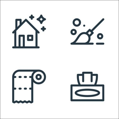 Cleaning line icons. linear set. quality vector line set such as napkin, paper towel, mop icon