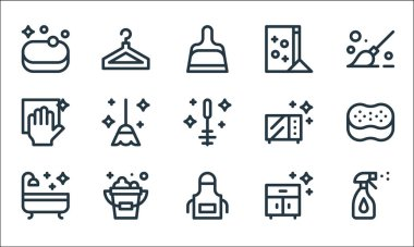 Cleaning line icons. linear set. quality vector line set such as cleaner, apron, bath, furniture, bucket, cleaning, microwave, washing powder, clothes hanger icon