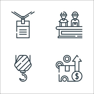 Industrial process line icons. linear set. quality vector line set such as box, hook, manufacture icon