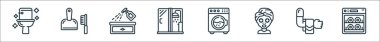 Hygiene line icons. linear set. quality vector line set such as dish washer, towel, facial mask, washing machine, shower, spray bottle, dustpan icon
