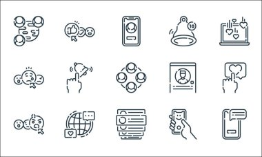 Social media line icons. linear set. quality vector line set such as smartphone, comments, angry face, selfie, internet, sad face, profile, notification, thumbs up icon