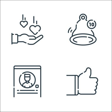 Social media line icons. linear set. quality vector line set such as thumbs up, profile, notification icon