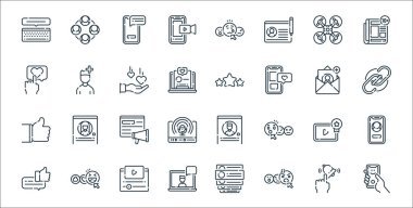 Social media line icons. linear set. quality vector line set such as selfie, angry face, laptop, bubble speech, video player, viral, link, review, user icon