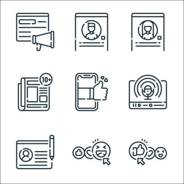 Social media line icons. linear set. quality vector line set such as thumbs up, happy face, profile, podcast, smartphone, news, profile, profile icon