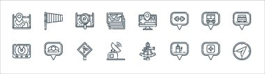 Navigation and maps line icons. linear set. quality vector line set such as compass, gas station, satellite dish, radar, bus stop, map, tracking, wind direction icon