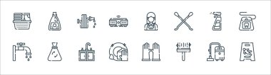 Cleaning line icons. linear set. quality vector line set such as wet floor, wiper, clean dishes, faucet, spray, water hose, maid, bleach icon