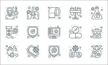 Virus transmission line icons. linear set. quality vector line set such as bat, coronavirus, germ, coffin, virus, tablet, test tube, icon