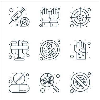 Virus transmission line icons. linear set. quality vector line set such as no virus, virus search, tablet, germs, test tube, bacteria, gloves icon