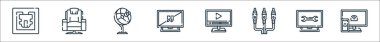 Television line icons. linear set. quality vector line set such as screen, maintenance, av cable, video player, tv screen, satellite dish, armchair icon