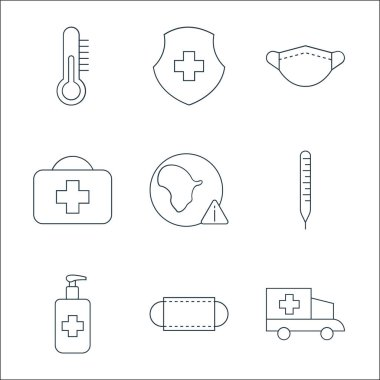 Coronavirus line icons. linear set. quality vector line set such as ambulance, mask, hand sanitizer, thermometer, virus warning, first aid kit, mask, medical shield icon