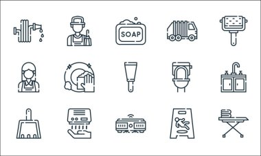 Cleaning line icons. linear set. quality vector line set such as iron board, robot vacuum, dustpan, wet floor, hand dryer, maid, toilet, garbage, cleaner icon