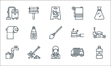 Cleaning line icons. linear set. quality vector line set such as mouthwash, maid, washing hands, garbage, rake, toilet paper, toothbrush, towel, wiper icon