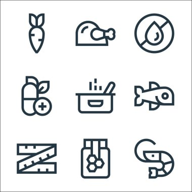 Nutrition line icons. linear set. quality vector line set such as shrimp, honey, tape measure, fish, pot, vitamin, no fat, chicken icon