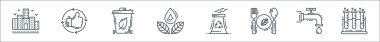 Environment and eco line icons. linear set. quality vector line set such as test tubes, water tap, eco food, nuclear energy, save water, recycle bin, thumbs up icon