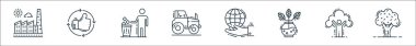 Environment and eco line icons. linear set. quality vector line set such as tree, ecologic, plant, save the planet, tractor, trash bin, thumbs up icon