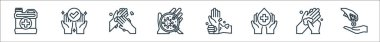 Wash hand line icons. linear set. quality vector line set such as hand sanitizer, hand palm, washing hands, wrist, coronavirus, palm, icon