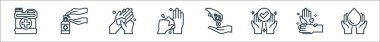 Wash hand line icons. linear set. quality vector line set such as washing hands, hand wash, hand, sanitizer, washing palm, sanitizer icon