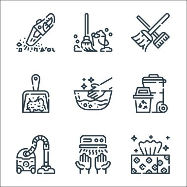 Cleaning line icons. linear set. quality vector line set such as tissue, hand dryer, vacuum cleaner, trash, hand wash, dustpan, broom, mop icon