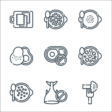 Vegan food line icons. linear set. quality vector line set such as broccoli, no fish, lentils, mushroom, no beef, avocado, soup, seeds icon