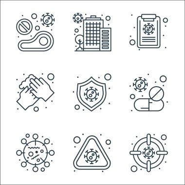 Coronavirus line icons. linear set. quality vector line set such as germs, alert, covid, tablet, virus, washing hands, medical report, quarantine icon