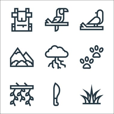 Jungle line icons. linear set. quality vector line set such as grass, machete, vines, footprint, thunderstorm, mountains, bird, toucan icon
