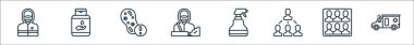 Covid line icons. linear set. quality vector line set such as ambulance, crowd, infection, sprayer, janitor, coronavirus, hand sanitizer icon