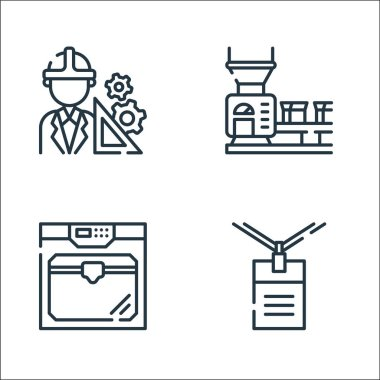 Industrial process line icons. linear set. quality vector line set such as work, d printer, conveyor belt icon