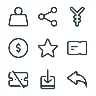 Marketplace line icons. linear set. quality vector line set such as undo, receive, voucher, ticket, star, coin, yuan, share icon