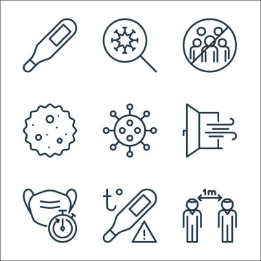 Stop virus line icons. linear set. quality vector line set such as distance, temperature, medical mask, window, virus, germ, gathering, virus icon