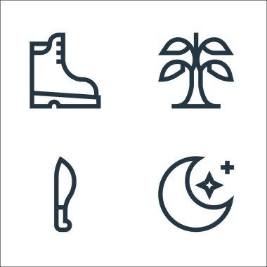 Jungle line icons. linear set. quality vector line set such as stars, machete, banana icon