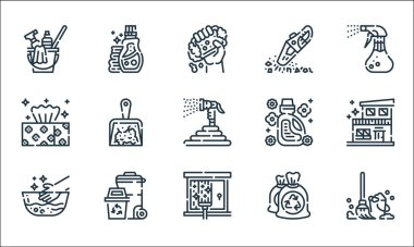 Cleaning line icons. linear set. quality vector line set such as mop, glass cleaning, hand wash, garbage bag, trash, tissue, softener, vacuum, detergent icon