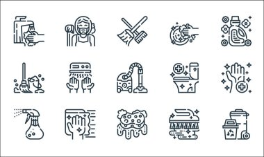 Cleaning line icons. linear set. quality vector line set such as trash, sponge, spray, brush, wipe, mop, toilet, washing, maid icon