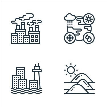 Climate change line icons. linear set. quality vector line set such as desert, sea level, weather icon